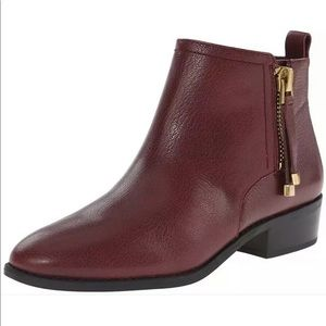 Franco Sarto Leather Burgundy Booties- Size US 8
